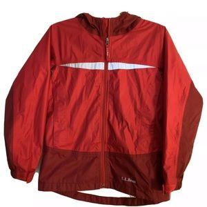 LL Bean Kids Trail Model Rain Jacket Red M 10-12